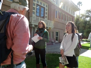 Herpetologist Cecil Schwalbe (left) and student Anabelle Baggs (right) enjoy a tour of the University of Arizona campus with Tanya Quist, the director of the Campus Arboretum. The Environmental Journalism students practiced their photography skills in the university's public garden. (Photograph by Abby Dockter)
